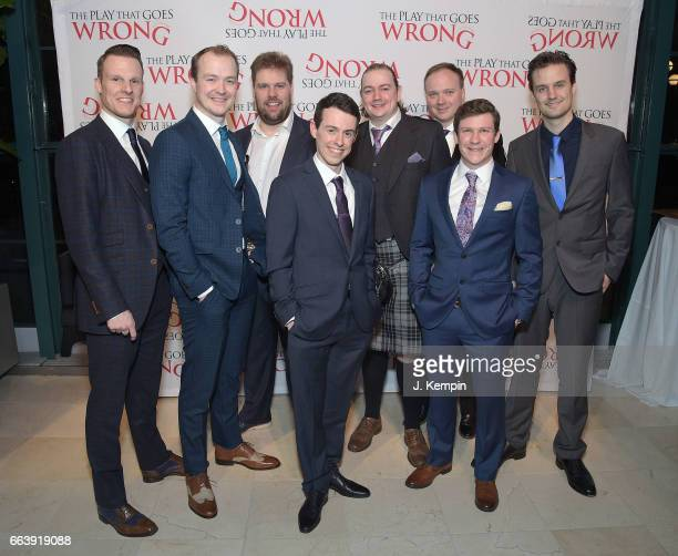 Dave Hearn Greg Tannahill Henry Lewis Jonathan Sayer Rob Falconer Jonathan Fielding Matthew Cavendish and Henry Shields attend The Play That Goes...