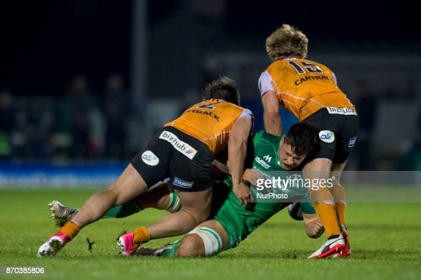 Dave Heffernan of Connacht tackled by Nico Lee and Fred Zielinga of Cheetahs during the Guinness PRO14 Round 8 rugby match between Connacht Rugby and...