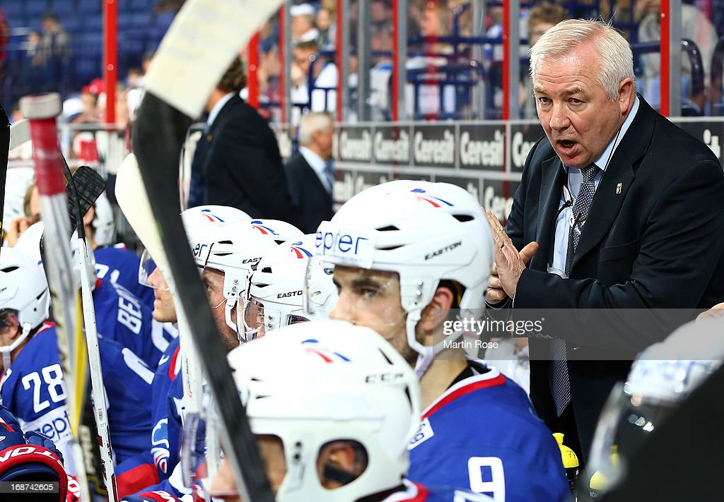 Dave Henderson, head coach of France gestures during the IIHF World Championship group H match between France and Germany at Hartwall Areena on May 14, 2013 in Helsinki, Finland.