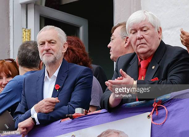 Dave Hopper Secretary of the Durham Miner's Association joins Labour leader Jeremy Corbyn on the balcony of the County Hotel as he attends the 132nd...