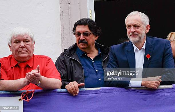 Dave Hopper Secretary of the Durham Miner's Association joins Labour leader Jeremy Corbyn on the balcony of the County Hotel to watch the banners and...