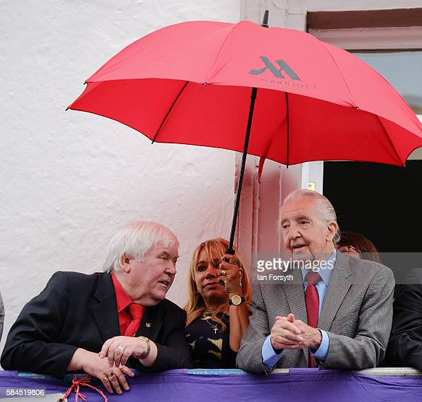 Dave Hopper Secretary of the Durham Miner's Association speaks with former miner and MP Dennis Skinner as he attends the 132nd Durham Miners Gala on...