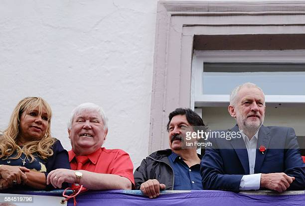 Dave Hopper Secretary of the Durham Miner's Association stands with his wife Maritza and Labour leader Jeremy Corbyn on the balcony of the County...