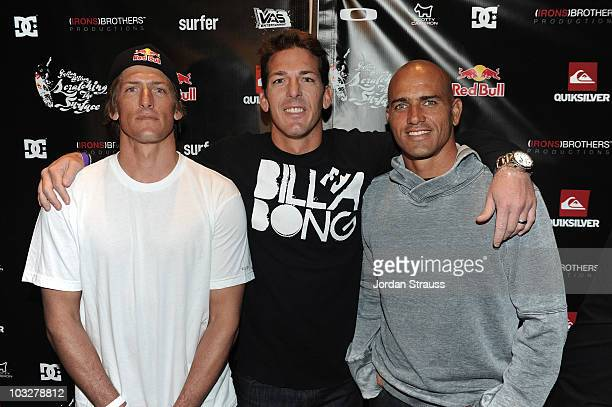 Dave Irons and Bruce Irons and Julian Wilson attend Julian Wilson Scratching The Surface Movie Premiere at Orange County Performing Arts Center on...