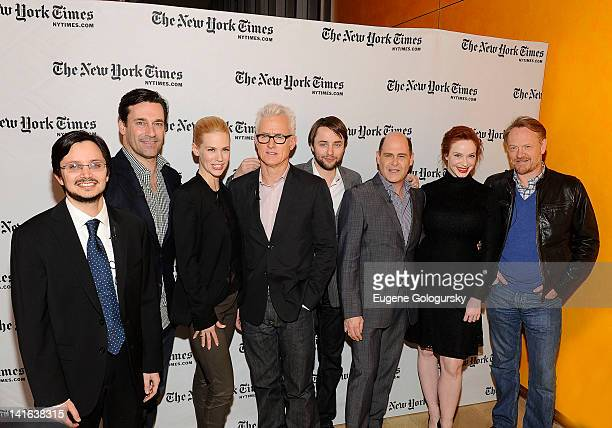 Dave Itzkoff Jon Hamm January Jones John Slattery Vincent Kartheiser Matthew Weiner Christina Hendricks and Jared Harris attend the TimesTalk A...