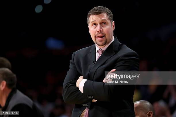 Dave Joerger head coach of the Memphis Grizzlies reacts to a play during the second half of a game against the Los Angeles Lakers at Staples Center...