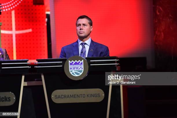 Dave Joerger of the Sacramento Kings looks on during the 2017 NBA Draft Lottery at the New York Hilton in New York New York NOTE TO USER User...