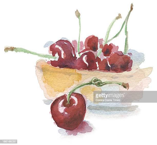 Dave Johnson illustration of a bowl of bing cherries