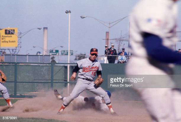 Dave Johnson of the Baltimore Orioles during the World Series against the New York Mets at Shea Stadium on October 1969 in Flushing New York