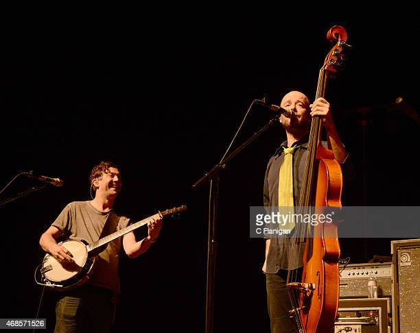 Dave Johnston and Ben Kaufman of The Yonder Mountain String Band perform at The Fox Theater on April 3 2015 in Oakland California