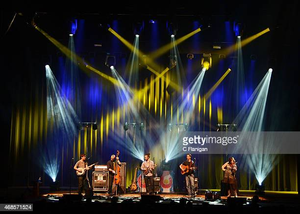 Dave Johnston Ben Kaufman Jake Jolliff Adam Ajalila and Allie Kral of The Yonder Mountain String Band perform at The Fox Theater on April 3 2015 in...