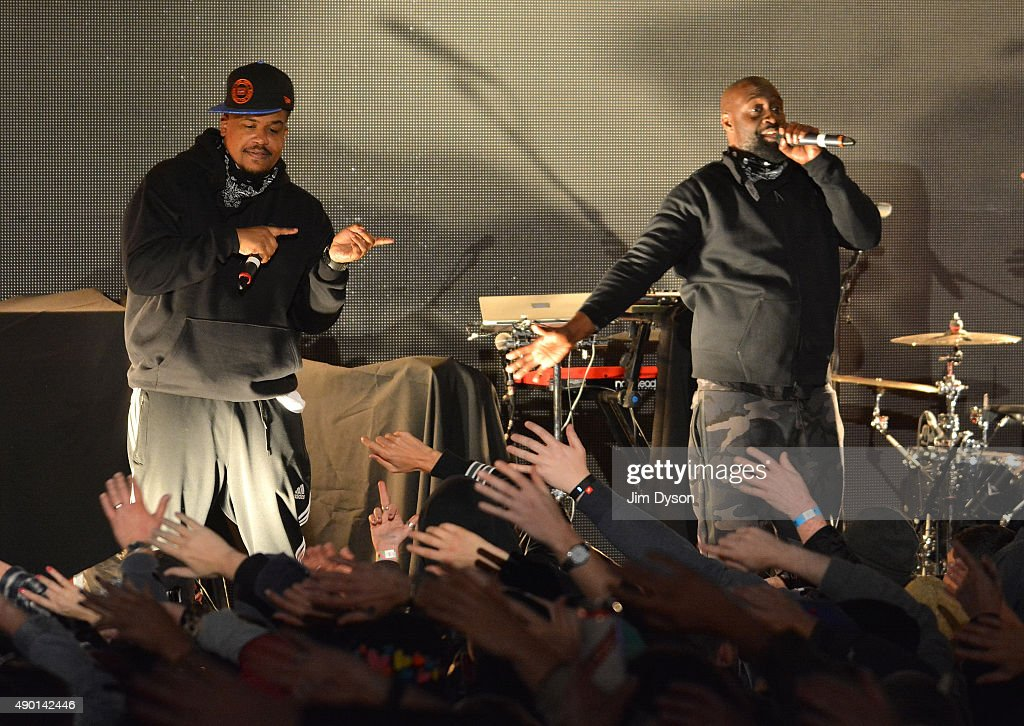 Dave Jolicoeur and Posdnuos of De La Soul perform live on stage during the final weekend closing party of Dismaland on September 25, 2015 in Weston-Super-Mare, England. Graffiti artist Banksy opened the subversive, pop-up 'Bemusement Park' exhibition at the derelict seafront Tropicana lido for five weeks, attracting 150,000 visitors.