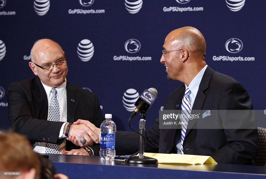 Dave Joyner, Director of Athletics of The Pennsylvania State University (Left) shakes hands with James Franklin, head coach of the Penn State Nittany Lions on January 11, 2014 at Beaver Stadium in State College, Pennsylvania.