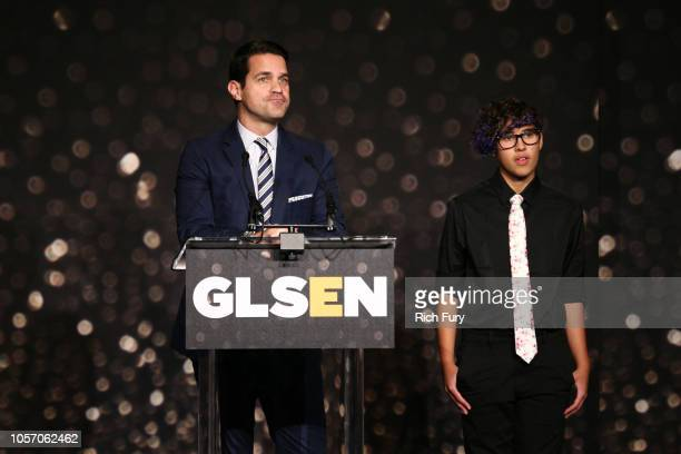 Dave Karger and Kian TortorelloAllen speak onstage at the GLSEN Respect Awards at the Beverly Wilshire Four Seasons Hotel on October 19 2018 in...