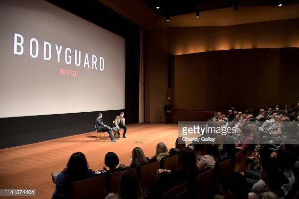 Dave Karger and Richard Madden speak onstage during the Netflix Bodyguard screening reception at Linwood Dunn Theater on April 07 2019 in Los Angeles...