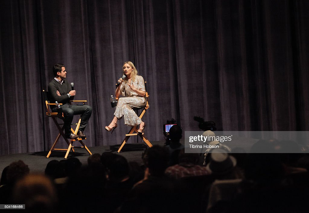 Dave Karger and Saoirse Ronan attend SAG-AFTRA Foundation conversations with Saoirse Ronan of 'Brooklyn' at Zanuck Theater at 20th Century Fox Lot on January 8, 2016 in Los Angeles, California.