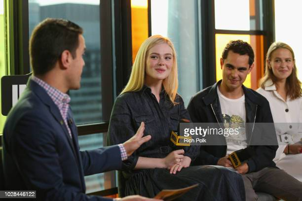 Dave Karger Elle Fanning director Max Minghella and Clara Rugaard of Teen Spirit attend The IMDb Studio presented By Land Rover At The 2018 Toronto...