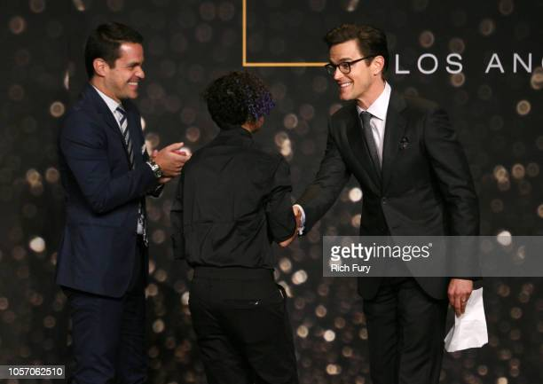 Dave Karger Kian TortorelloAllen and Matt Bomer speak onstage at the GLSEN Respect Awards at the Beverly Wilshire Four Seasons Hotel on October 19...