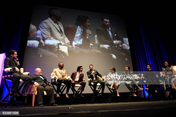 Dave Karger Stephen Henderson Mahershala Ali Dev Patel Aaron TaylorJohnson Janelle Monae Simon Helberg Ruth Negga and Naomie Harris speak onstage at...