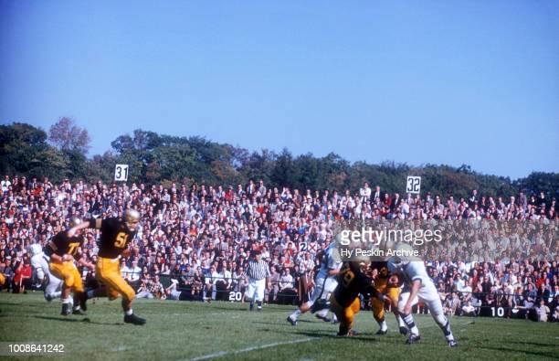 Dave Kasperian of the Penn State Nittany Lions runs with the ball during an NCAA game against the Army Cadets on October 4 1958 at Michie Stadium in...