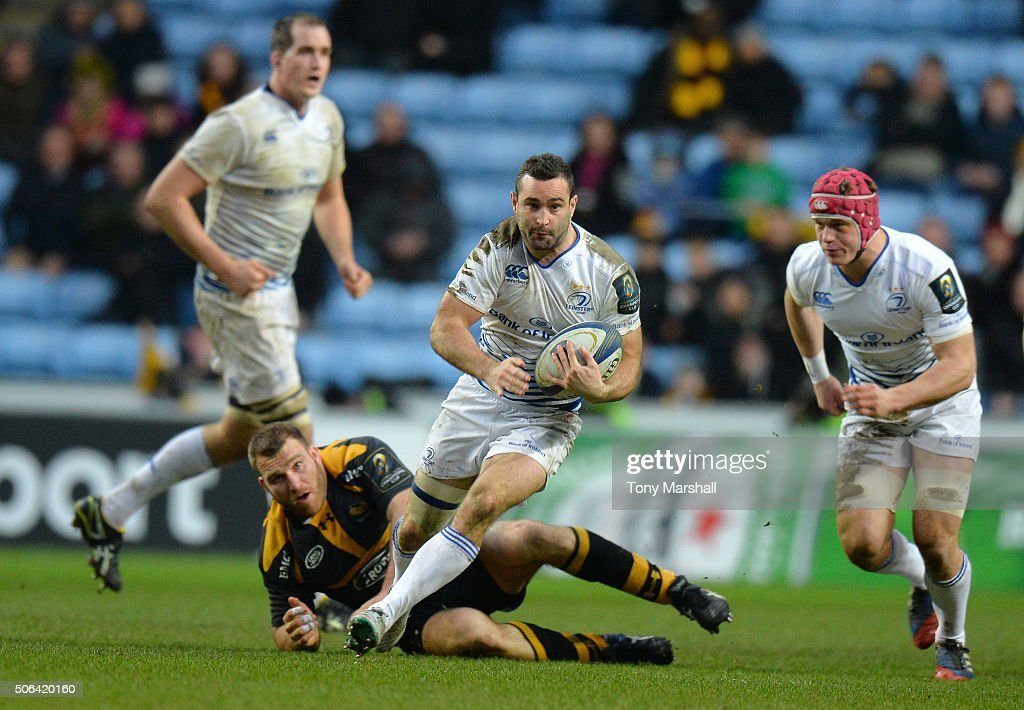 Dave Kearney of Leinster Rugby charges forward during the European Rugby Champions Cup match between Wasps and Leinster Rugby at Ricoh Arena on January 23, 2016 in Coventry, England.