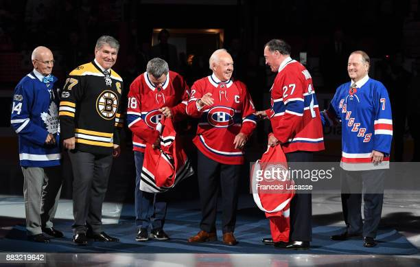 Dave Keon Ray Bourque Denis Savard Yvan Cournoyer Frank Mahovlich and Rod Gilbert during ceremony for the NHL Centennial celebration prior to the...
