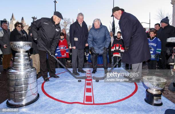Dave Keon Representative of Lord Stanley Memorial Monument Inc George Hunter Governor General of Canada David Johnston and Frank Mahovlich pose for a...