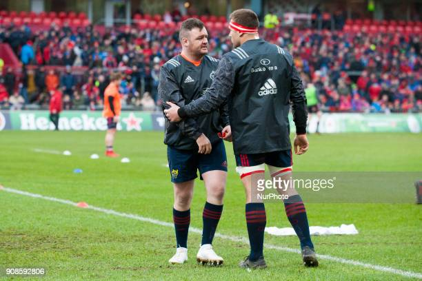 Dave Kilcoyne and CJ Stander of Munster during the European Rugby Champions Cup Round 6 match between Munster Rugby and Castres Olympique at Thomond...