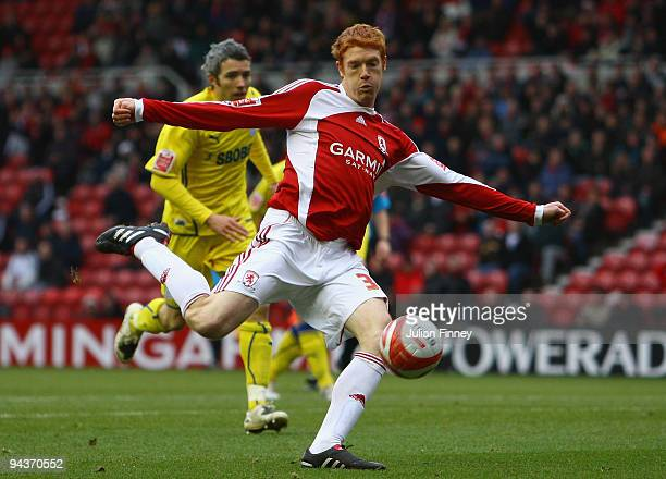 Dave Kitson of Middlesbrough has a shot on goal during the CocaCola Championship match between Middlesbrough and Cardiff City at the Riverside...