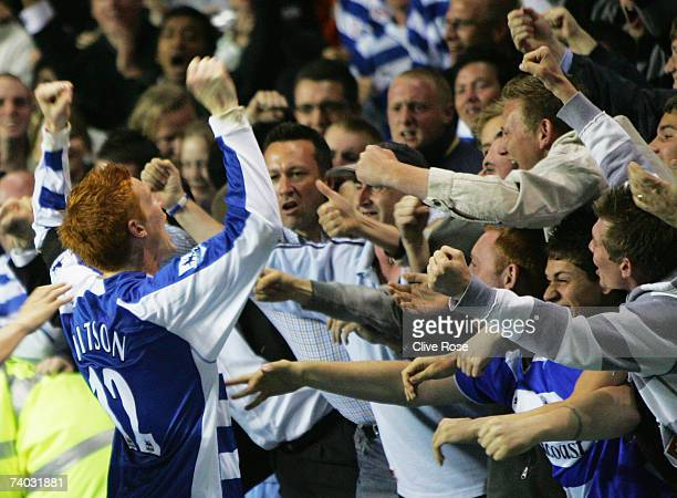 Dave Kitson of Reading celebrates scoring with his sides fans during the Barclays Premiership match between Reading and Newcastle United at the...