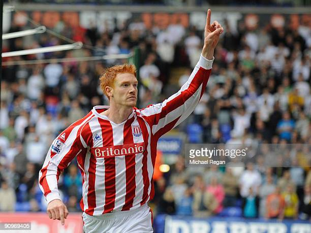 Dave Kitson of Stoke celebrates after scoring the opening goal of the Barclays Premier League match between Bolton Wanderers and Stoke City at the...