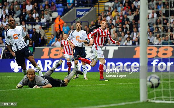 Dave Kitson of Stoke scores to make it 1-0 during the Barclays Premier League match between Bolton Wanderers and Stoke City at the Reebok Stadium on...