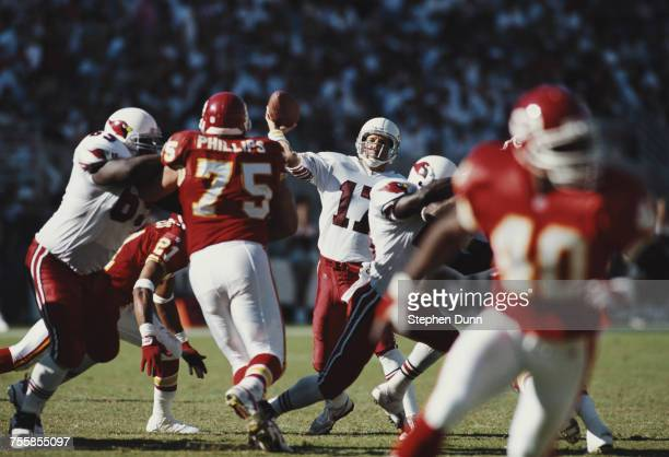 Dave Krieg Quarterback for the Arizona Cardinals prepares to throw during the National Football Conference East game against the Kansas Chiefs on 1...
