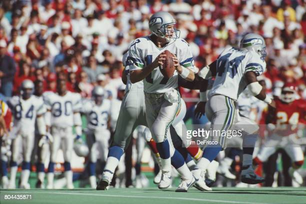 Dave Krieg Quarterback for the Seattle Seahawks during theAmerican Football Conference West game against the Kansas City Chiefs on 11 November 1990...