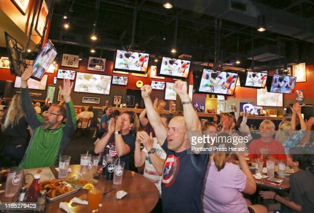 Dave Kruse of Fairfax Virginia and Sebago Lake celebrates USAs second goal scored by Rose Lavelle while watching the game with family and friends at...