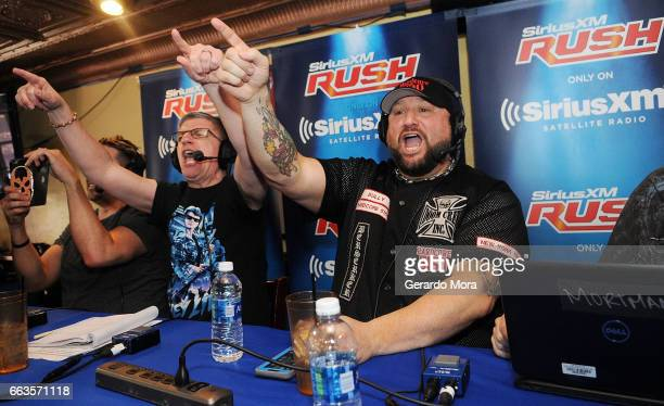 Dave LaGreca and Wrestler Bully Ray interact with the audience during the SiriusXM's Busted Open Live From WrestleMania 33on April 1 2017 in Orlando...