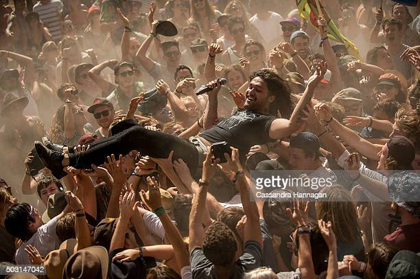 Dave Le'aupepe of the band Gang of Youths performs at Falls Festival on January 2 2016 in Byron Bay Australia