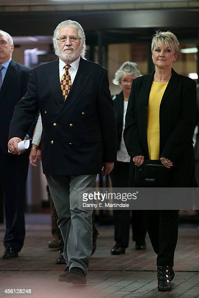 Dave Lee Travis and wife Marianne Griffin leave court after he is handed a three month suspended sentence for indecent assasult at Southwark Crown...