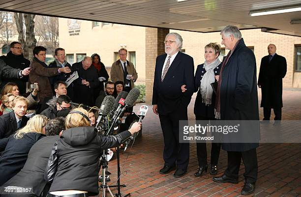 Dave Lee Travis speaks to the media outside Southwark Crown Court after being found not guilty of 12 counts of indecent assault on February 13 2014...