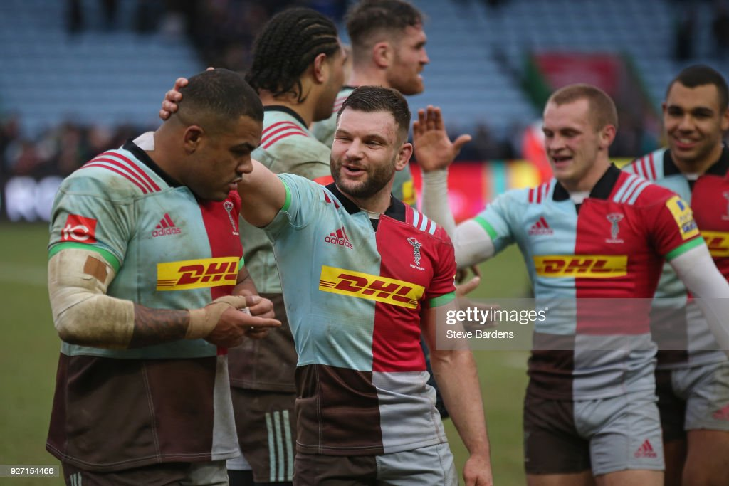 Dave Lewis and Kyle Sinckler celebrate their victory after the Aviva Premiership match between Harlequins and Bath Rugby at Twickenham Stoop on March 4, 2018 in London, England.