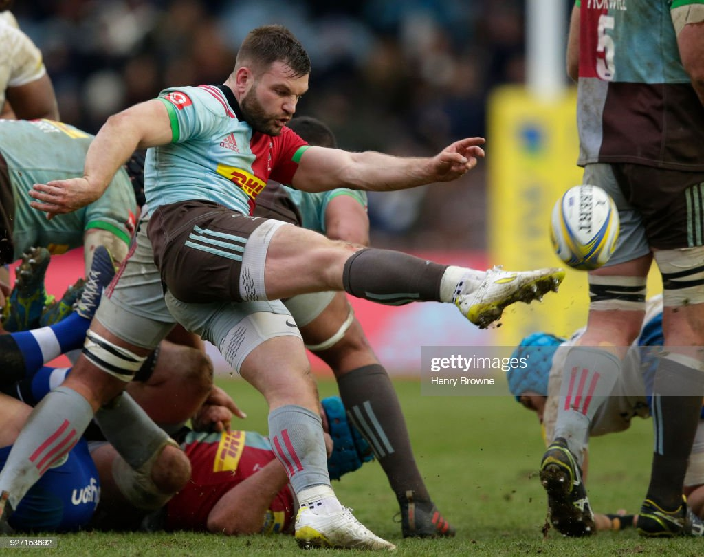 Dave Lewis of Harlequins during the Aviva Premiership match between Harlequins and Bath Rugby at Twickenham Stoop on March 4, 2018 in London, England.