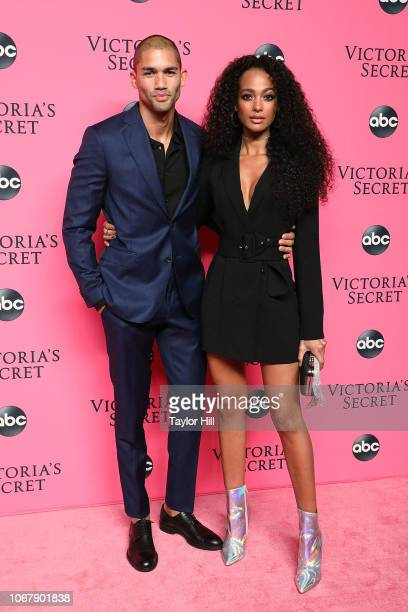 Dave Lilja and Melie Tiacoh attend the 2018 Victoria's Secret Fashion Show Viewing Party at Spring Studios on December 2, 2018 in New York City.