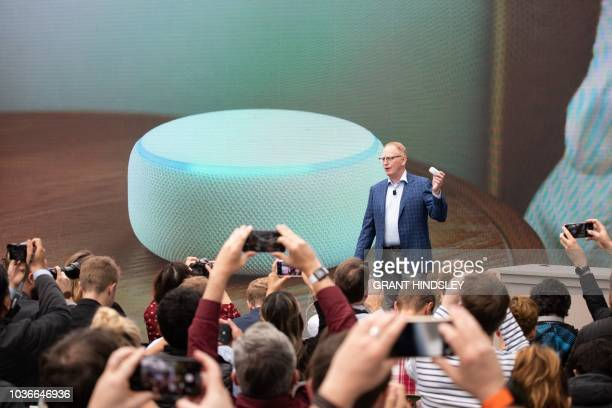Dave Limp senior vice president of Amazon devices announces the new Echo Dot at The Spheres in Seattle on September 20 2018 Amazon weaves its Alexa...