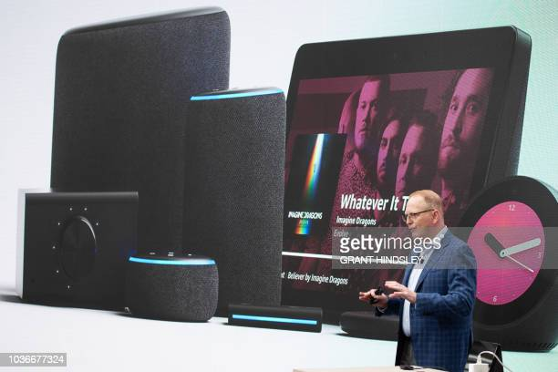 Dave Limp senior vice president of Amazon devices concludes his presentation of dozens of new Alexa enabled devices and services at The Spheres in...