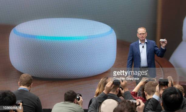 Dave Limp Senior Vice President of Amazon Devices introduces an redesigned echo dot at the Amazon Spheres on September 20 2018 in Seattle Washington...