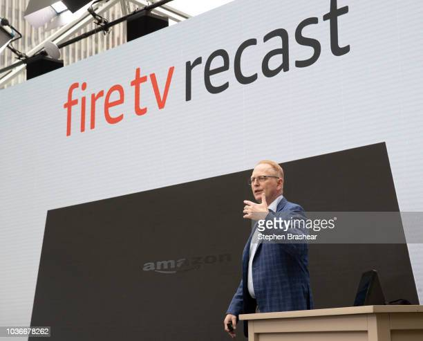 Dave Limp Senior Vice President of Amazon Devices introduces 'Firetv Recast' which is a DVR the can capture overtheair television during an event at...