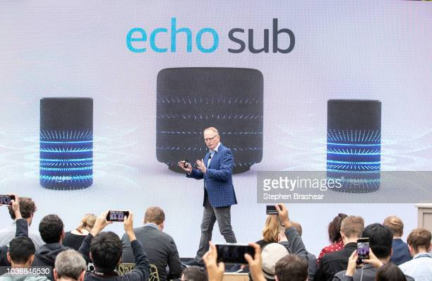 Dave Limp Senior Vice President of Amazon Devices introduces the 'echo sub' speaker at the Amazon Spheres on September 20 2018 in Seattle Washington...