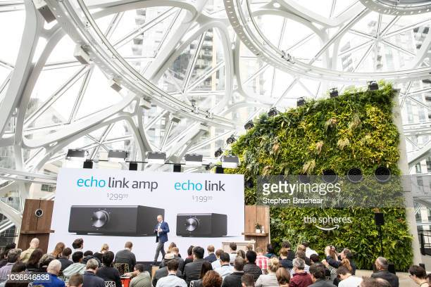 Dave Limp Senior Vice President of Amazon Devices introduces the 'echo link amp' and 'echo link' devices which allow users play music from Alexa...