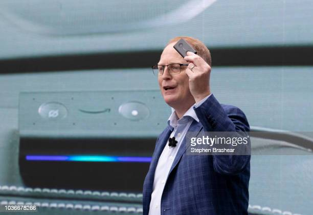 Dave Limp Senior Vice President of Amazon Devices introduces the 'Echo Auto' which allows users to use Alexa in their car during an event at the...