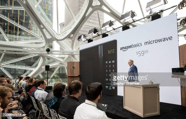 Dave Limp Senior Vice President of Amazon Devices introduces the 'amazonbasics microwave' which can be controlled by an Alexa at the Amazon Spheres...
